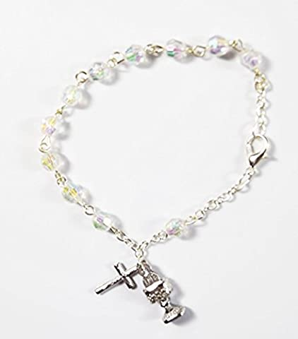 My First Holy Communion Rosenkranz Bead Armband Boy Girl Kristall