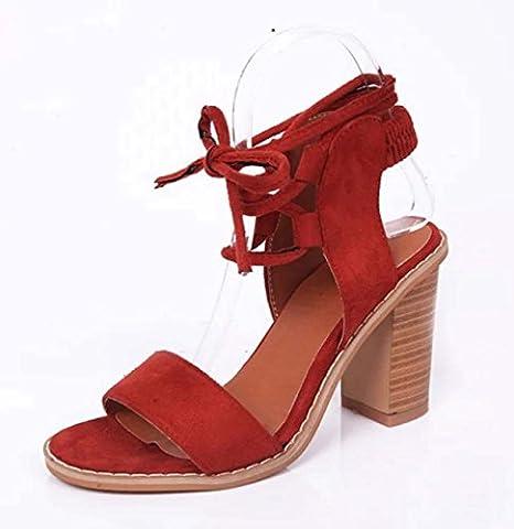 FARALY Femmes Sangle De Cheville Boucle De Ceinture Romain Cross Band Open Toe Gland Chaussures Décontractées ( Color : Red , Size : 39 )