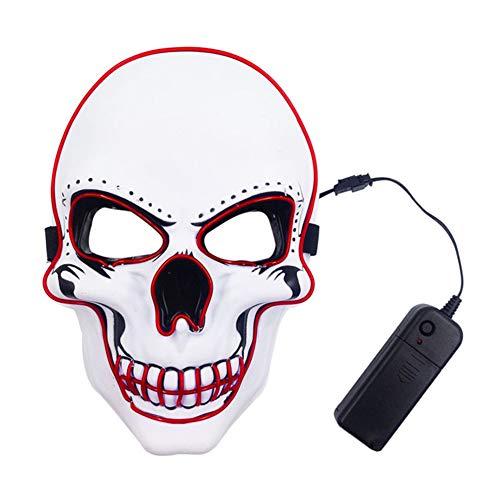 Glühende Kostüm Für Augen Rot - Traioy Halloween Glühende Wangenknochen Maske, LED Kaltlicht Maske Schrecklich Gruselig Gruselig Für Den Karneval Prom Party,Rot