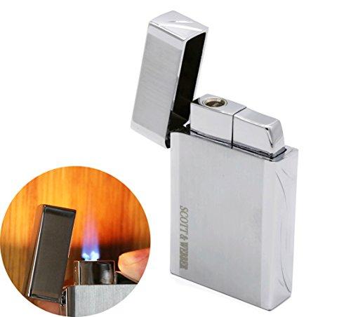Scott & Webber - Accendino a Gas Argento 100% Metallo con Fiamma antivento Jet flame - Accendino per Pipa / Sigaretta, Sigaro, Cucina, Candela / Ricaricabile / Regolabile #SMART #EASY #ELEGANT