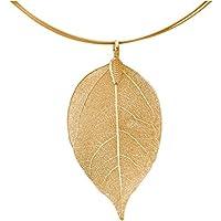 Gemshine Handmade - Halskette - Anhänger - Vergoldet - Blatt - Rose - Natur - 7 cm