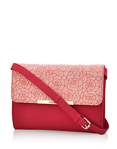 Steller Womens Sling bag (Red & Flowery Pink) (STSLRD1037)