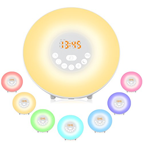 Despertador ligero, YOOZON despertador con Luz que simula de amanecer, LED Lámpara...