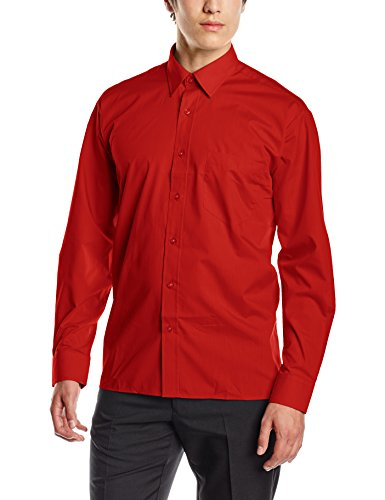Premier Herren Businesshemd Poplin Long Sleeve Shirt Red