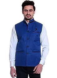 SSB Cotton Blend Solid Blue Nehru Waistcoat Jacket For Mens Large (40)