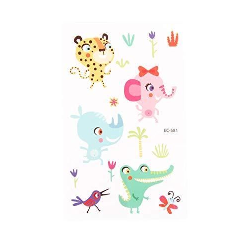 wondergirls multicoloured 5 Sheets Waterproof Temporary Fake Tattoo Stickers Tiger Pig Elephant Cartoon Animals Design Kids Child Body Art(None EC-581)