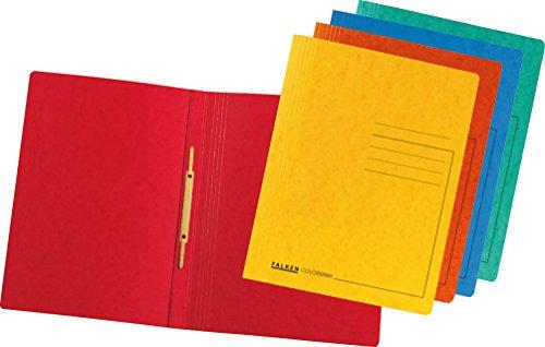 Falken Premium Schnellhefter aus extra starkem Colorspan-Karton für DIN A4 kaufmännische Heftung farbig sortiert 10er Pack Hefter ideal für Büro und Schule