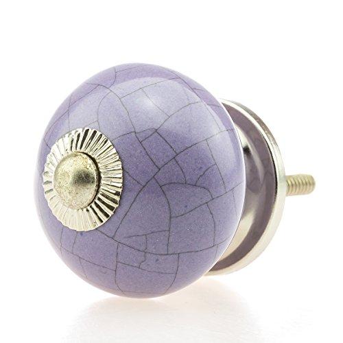 Keramik Vintage Möbelknopf Nr 0255 Jay Knopf 7 lila violett hell 16022_light R2-63 Crackle Shabby Chic Retro Porzellan Griff Knauf 7 Möbelknopf