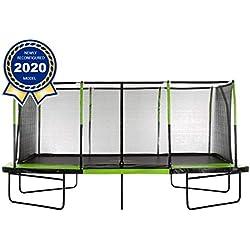 Upper Bounce - Grand Trampoline Rectangulaire d'Extérieur et Jardin - Ensemble Complet avec Filet de Sécurité, Toile de Saut, Couvre Ressorts - Montage Facile - 5.18 m x 3.05 m