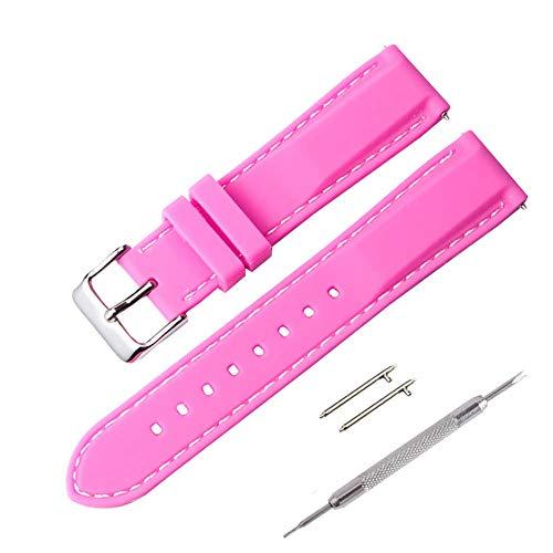 rmband Ersatzarmband mit Edelstahl Metall Schließe für Unisex, Uhr und Smartwatch (22mm, Rosa) ()
