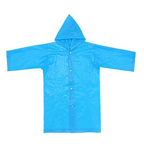 sunnymi 2 Stücke Regenjacken Wiederverwendbare Tragbare Regenmäntel Kinder Regen Ponchos für 6-12 Jahre Alt (Blau, 6-12 Jahre)
