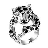 Dixinla Anillo Acero, Anillo de Acero de Titanio del Molde Personalidad Simples Hombres y Mujeres Amantes de la Moda Cabeza de Leopardo Joyas Regalo para Familiares o Amigos
