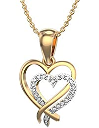 Silvernshine Interlocking Heart Necklaces In 14K Yellow Gold Fn 925 Silver 1.2 Ct White Cz