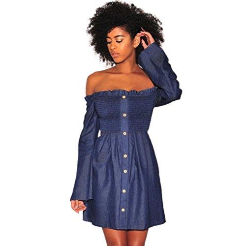 Longra Damenmode Kleid Sommer Jeanskleid Off-Shoulder-Kleider Damen Langarm Lose Knielang A-Linie Denim Abendkleid Minikleid Kurz Hemdkleid Partykleid Blusenkleid (Blue, M) (Samt-rosa Kleine Kleid)