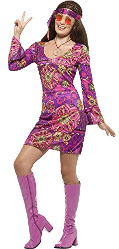 Ladies Purple Party Hippe Outfit for 60s/70s Dress-Up. Sizes 4 to 22