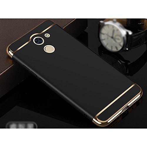 Huawei Y7 Prime / Huawei Enjoy 7 Plus Hülle, MSVII® 3-in-1 Design PC Hülle Schutzhülle Case Und Displayschutzfolie für Huawei Y7 Prime / Huawei Enjoy 7 Plus - Blau JY50035 Schwarz