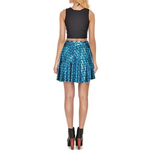 Femme Short Jupe En Ecaille De Poisson Patineuse Mini Jupe Évasée Plissée Élégante Bleu Clair