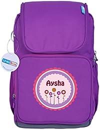 UniQBees Personalised School Bag With Name (Active Kids Medium School Backpack-Purple-Pink Flowers)