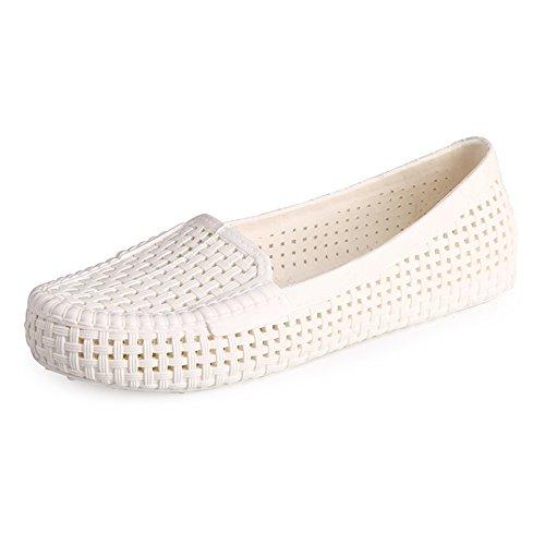 fan4zame Sommer Strand Erbsen Mom Schuhe atmungsaktiv Krankenschwestern Loch Schuhe Flache Sandalen Cool bequem atmungsaktiv Sandalen 38 white