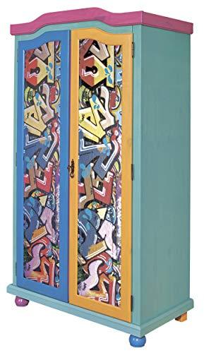 H24living Kleiderschrank Massiv-Holz Jugendschrank Holzschrank 2-türig 6 Fächer 1 Kleiderstange (BxHxT) 103x200x55 cm