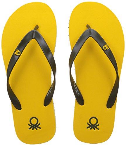 United Colors of Benetton Men's Yellow and Olive EVA Flip-Flops...