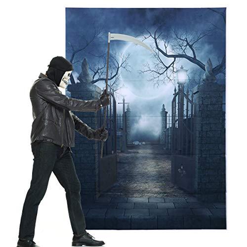 Halloween Foto Hintergrund 3D Gruselig Backpy Moon Night Scary Tor für Parteien Foto Studio Foto Bibliothek Hintergrund (150 * 210 cm)