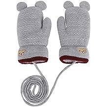 453f85f755 YSXY Niedliche Kinder Baby Fäustlinge Winter Warme Gestrickte Handschuhe  mit Band Gefüttert Fausthandschuhe Strickhandschuhe für 1