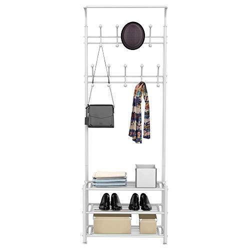 Yaheetech Garderobenständer Kleiderständer Schuhablage mit 3 Schuhablagen Metall in 187cm weiß
