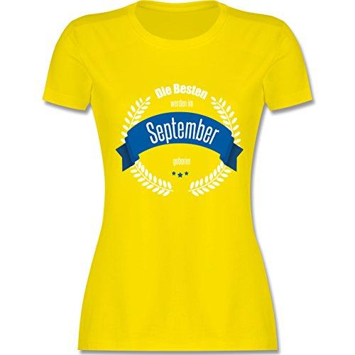 Geburtstag - Die Besten werden im September geboren - tailliertes Premium T-Shirt mit Rundhalsausschnitt für Damen Lemon Gelb
