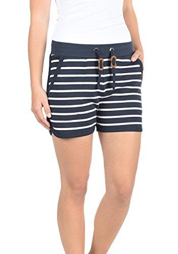 BlendShe Kira Damen Sweatshorts Bermuda Shorts Kurze Hose Mit Fleece-Innenseite Und Streifen-Muster Regular Fit, Größe:XS, Farbe:Navy (70230) - Gestreifte Leinen-pants