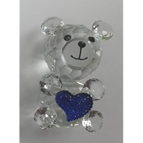 A-Plus Trading Crystal Collection Cute Teddy Bear Figurine With Heart - Blue by A-Plus Trading