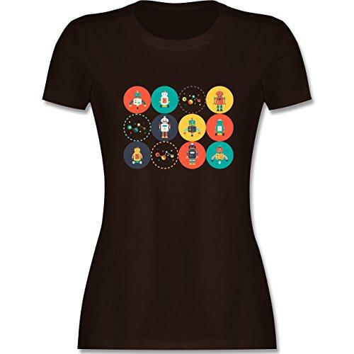 Nerds & Geeks - Roboter Design - tailliertes Premium T-Shirt mit Rundhalsausschnitt für Damen Braun