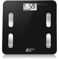 Active EraTM - Pèse Personne Graisse Corporelle - Balance Design Ultra fin - Analyse le% de graisse corporelle, l'IMC, l'âge, le poids et la taille (Noir)