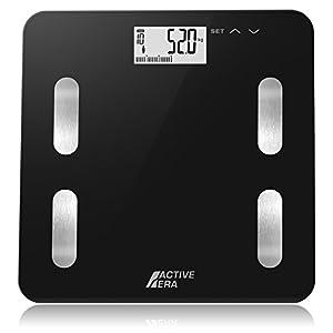 Active Era Digitale Körperfett Personenwaage: Elegantes, super schmales Gerät mit Körperfettanteil-, BMI-, Alters-, Gewichts- und Größenanzeige