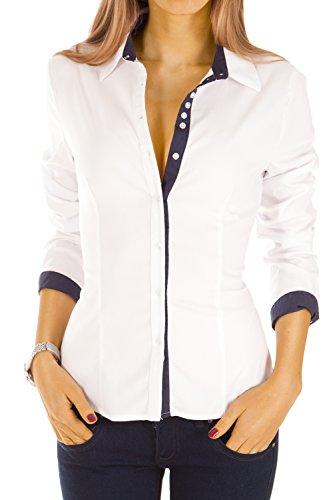 Bestyledberlin Damen Blusen gestreift, elegante Stretch Tops, Oberteile langarm t27z Weiß