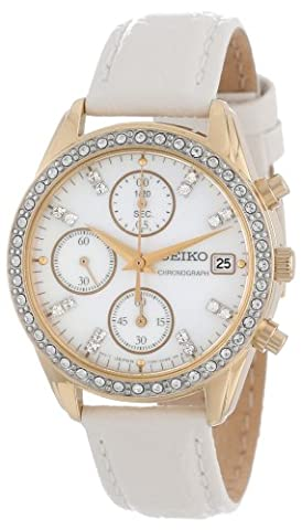 Chronograph Gold Tone Stainless Steel Case Mother of Pearl Dial Leather Bracelet Crystals