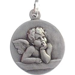 Médaille du Saint Ange Gardien en Argent Massif 925 Millièmes Les Médailles des Saints Patrons