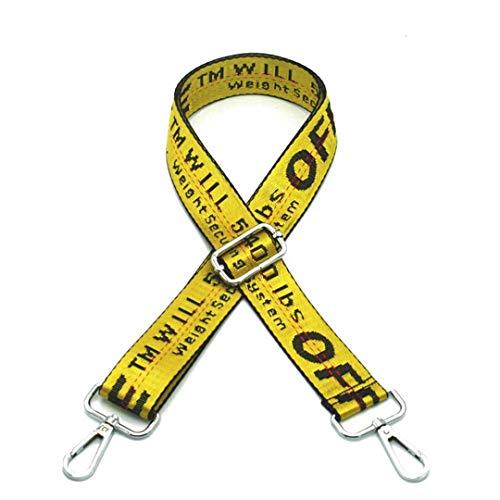 Taschenriemen Bunte Leinwand Streifen Einstellbar Schultergurt Für Tag Handtasche Gürtel Ersatz Zubehör KZ151325 Yellow Silver Buckle