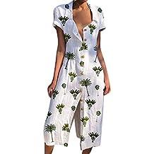 Geilisungren Vestido Manga Corta de la Vendimia para Mujer, Casual Verano Playa Bohemio Vestido,