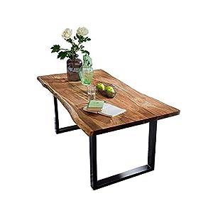 SAM® Stilvoller Esszimmertisch Quarto 180 x 90 cm, nussbaumfarbig, Akazienholz-Tisch mit schwarz lackierten Beinen, Baum-Tisch mit naturbelassener Optik