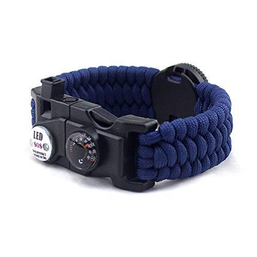 20-in-1 Paracord Armband Multifunktions Paracord Armband Survival Gear Kit mit eingebautem Kompass, Feuerstarter, Notfallmesser & Whistle Sport Camping Outdoor Überleben (Blau)