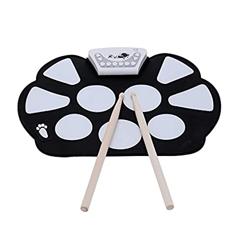 InVaFoCo Portable Electronic Drum Kit Roll up Drum Pad Foldable Silicon Drum with Drum Stick (Rullo Cover Set)