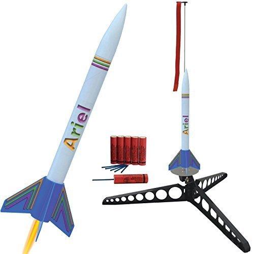 Ariel Modellrakete mit Umfangreichem Zubehör: Schnellbausatz komplett mit Startrampe, Treibsätzen und Schutzwatte! - Landung erfolgt mittels Fallschirm -