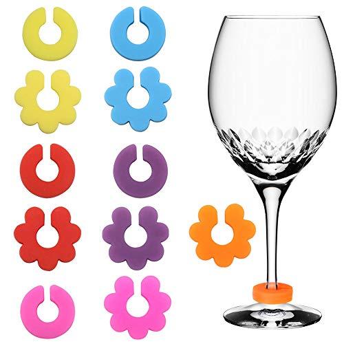 SelfTek 12 Stück Weinglas Marker Silikon Wein Trinken Marker für Party Verschiedene Farben
