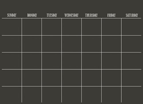 Wallpops - Calendario adesivo da parete, scrivibile, si pulisce a secco, colore: Nero