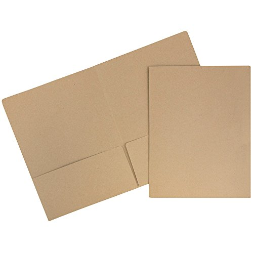 Jam Paper 2 Pocket Cardstock Ordner-6/Pack 6 Pack Braun Kraft Tasche Recycelt
