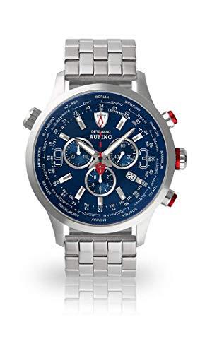 DETOMASO AURINO Herren-Armbanduhr Chronograph Analog Quarz silbernes Edelstahl-Armband blaues Zifferblatt DT1061-C