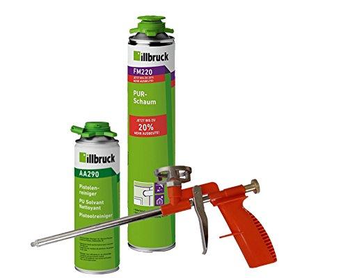 illbruck Profi Set 1x FM220 PUR-Schaum 750ml Dose + illbruck AA290 Reiniger + Schaumpistole Compact (Beton-schaum-isolierung)