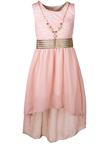 Unbekannt Kinder Sommer Fest Kleid für Mädchen Sommerkleid Festkleid mit Kette in vielen Farben M288rs Rosa Gr. 8/116 / 122