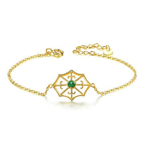 ZhongYi Einfache Sterling Silber Spider Web natürliche Großmutter Smaragd Armband (Spider-armband)